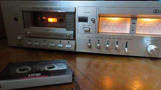 Cassette deck used for sampling.